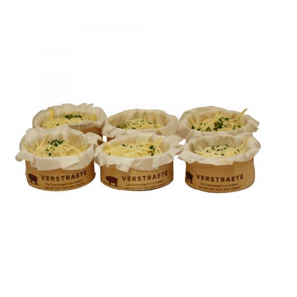 Hoeveslagerij Verstraete cupje preipuree met spekjes en kabeljauwhaasje